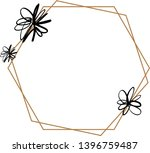 floral frame template with gold ... | Shutterstock .eps vector #1396759487