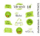 hand drawn zero waste logo or... | Shutterstock .eps vector #1396793651