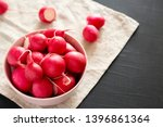 Fresh Red Radishes In A Pink...