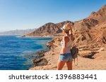 tourist woman in dahab near...   Shutterstock . vector #1396883441