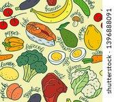 seamless pattern healthy food... | Shutterstock .eps vector #1396888091