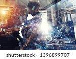 teamwork works with a computer. ... | Shutterstock . vector #1396899707