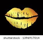 glamour gold lipstick kiss  ... | Shutterstock .eps vector #1396917014