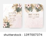 dry gold tropical palm leaves... | Shutterstock .eps vector #1397007374