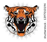 isolated angry tiger face with... | Shutterstock .eps vector #1397010194