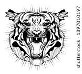 isolated sriped tiger face with ... | Shutterstock .eps vector #1397010197