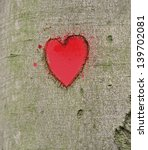 Red Heart Carved On The Tree