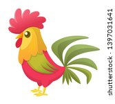 Cartoon Rooster With Bright...