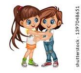 two lovely happy best friends... | Shutterstock .eps vector #1397048651