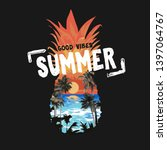 summer slogan on beach sunset... | Shutterstock .eps vector #1397064767