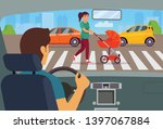 man sitting in the car.... | Shutterstock .eps vector #1397067884