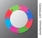 eight pieces puzzle circles...   Shutterstock .eps vector #1397094551