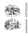 vector sketch of trees and... | Shutterstock .eps vector #1397121434