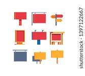 signboards  pixel art set ... | Shutterstock .eps vector #1397122667