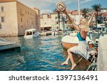 tourism concept. young... | Shutterstock . vector #1397136491