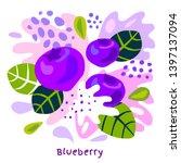 fresh blueberry berry berries... | Shutterstock .eps vector #1397137094