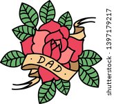 rose tattoo with ribbon and... | Shutterstock .eps vector #1397179217