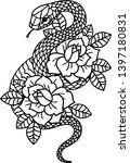 tattoo with rose and snake with ... | Shutterstock .eps vector #1397180831