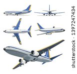 Vector airplane with yellow and blue stripes on white background. Airplane in top, side, back, front and bottom view. Vector aircraft illustration. - stock vector