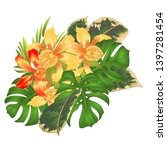 tropical orchids yellow flowers ... | Shutterstock .eps vector #1397281454