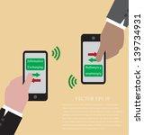 vector of hand with smart phone ... | Shutterstock .eps vector #139734931