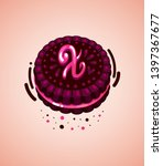 brown cookie and pink letter x  ... | Shutterstock .eps vector #1397367677