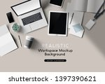a workplace top view desk... | Shutterstock .eps vector #1397390621