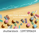 beach lifestyle holiday... | Shutterstock .eps vector #1397390624