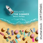 summer holiday background with... | Shutterstock .eps vector #1397390681