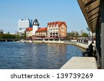 KALININGRAD, RUSSIA - MAY 20: Ethnographic and trade center, embankment of the Fishing Village on may 20, 2013 in Kaliningrad, Russia. - stock photo
