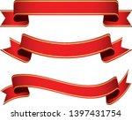 set of red vintage ribbon... | Shutterstock .eps vector #1397431754