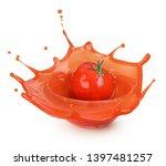 tomato sauce splash in... | Shutterstock . vector #1397481257