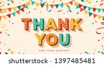 thank you card with retro... | Shutterstock .eps vector #1397485481