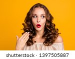 Stock photo close up photo modest girlish teen teenager astonished discount impressed incredible information 1397505887