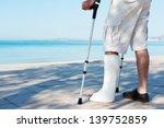 an injured man with a plaster...   Shutterstock . vector #139752859