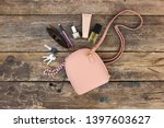 things from open lady purse.... | Shutterstock . vector #1397603627