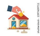 man invests money in the house. ... | Shutterstock .eps vector #1397609711