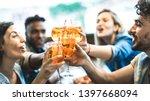 friends drinking spritz at... | Shutterstock . vector #1397668094
