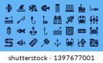 fishing icon set. 32 filled...