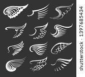 doodle angel wings set. contour ... | Shutterstock .eps vector #1397685434