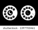 phone dial  dial icon on black...
