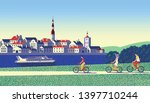 cyclists on a country walk with ...   Shutterstock .eps vector #1397710244