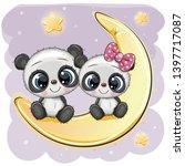 Two Cute Cartoon Pandas Are...