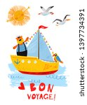Summer Nautical Card With Ship  ...