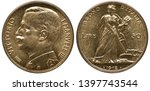 Italy Italian golden coin 50 fifty lire 1912, uniformed bust of King Vittorio Emanuele III left, woman in toga behind plow, sheaf of wheat in hand, date below,