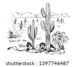 sketch of the desert of america ... | Shutterstock .eps vector #1397746487