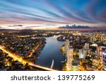 colorful sunset over suburbs ... | Shutterstock . vector #139775269