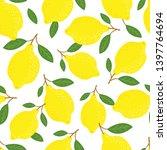 lemons and leaves background.... | Shutterstock .eps vector #1397764694