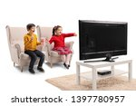 happy little boy and girl... | Shutterstock . vector #1397780957