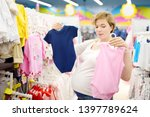 young pregnant woman choosing... | Shutterstock . vector #1397789624